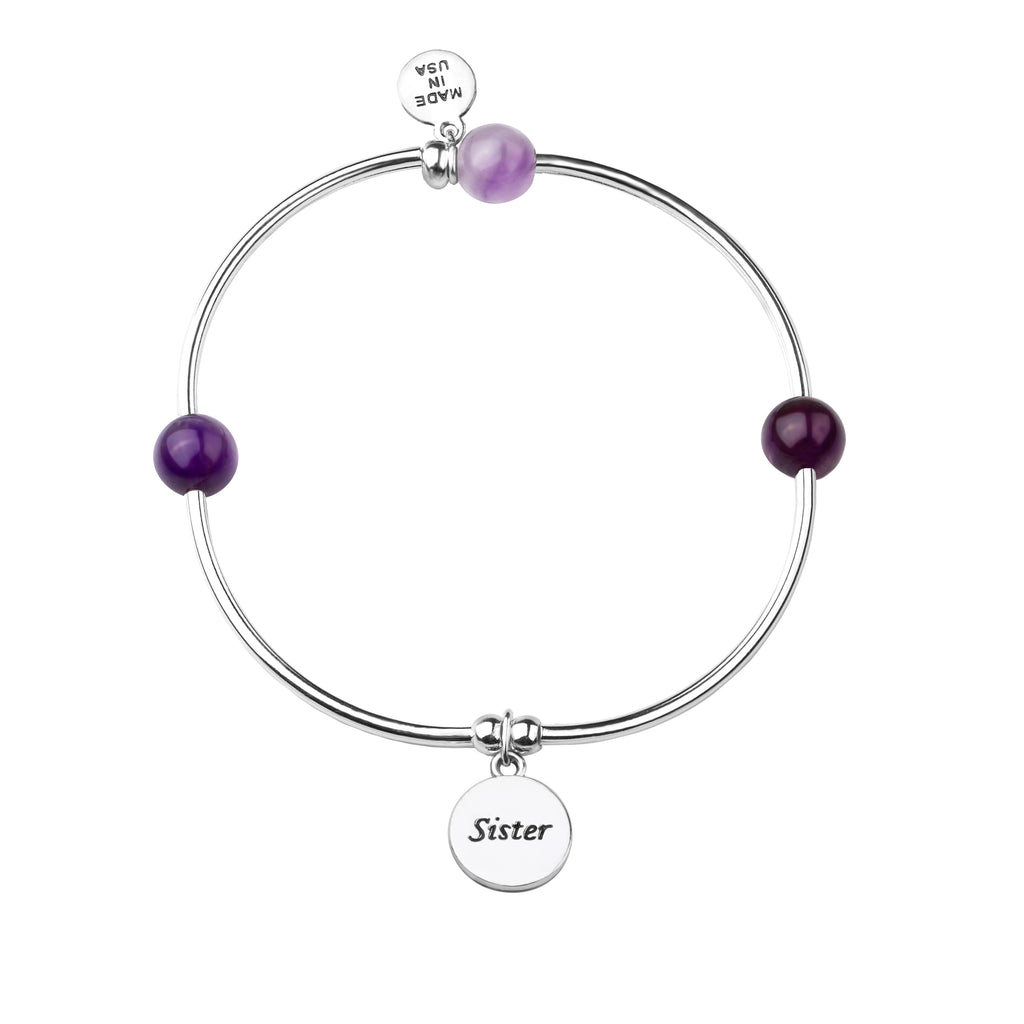 Sister | Soft Bangle Charm Bracelet | Amethyst