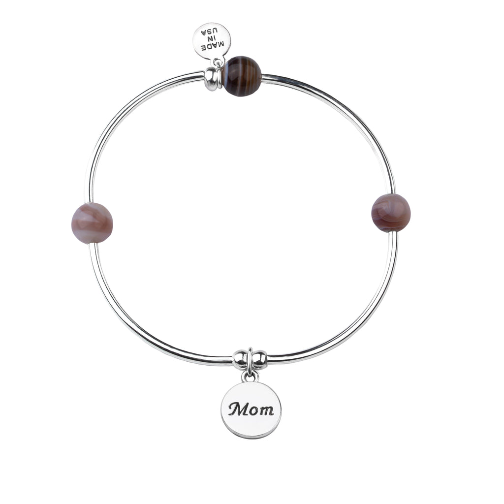 Mom | Soft Bangle Charm Bracelet | Botswana