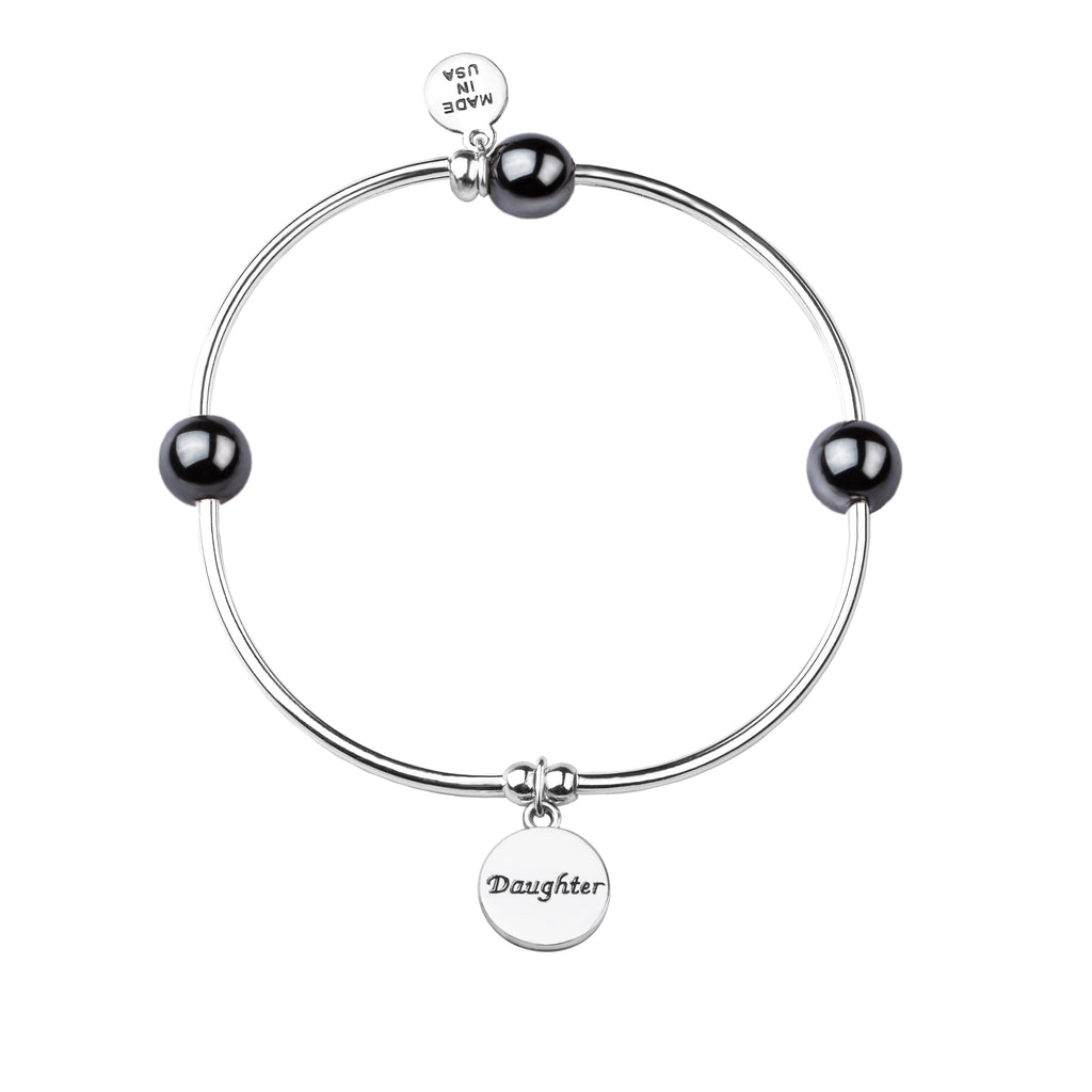 Daughter | Soft Bangle Charm Bracelet | Hematite