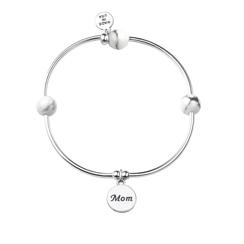 Mom | Soft Bangle Charm Bracelet | Howlite
