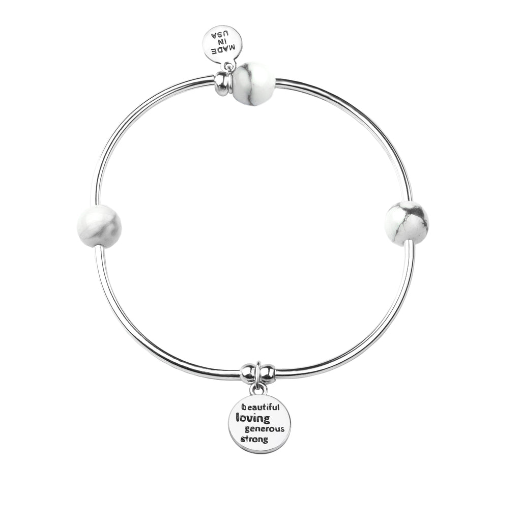 Aunt | Soft Bangle Charm Bracelet | Amazonite