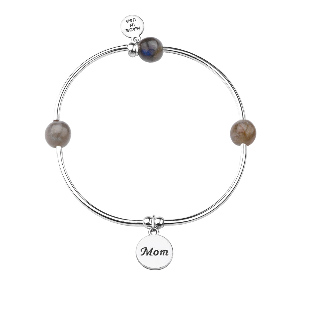 Mom | Soft Bangle Charm Bracelet | Labradorite