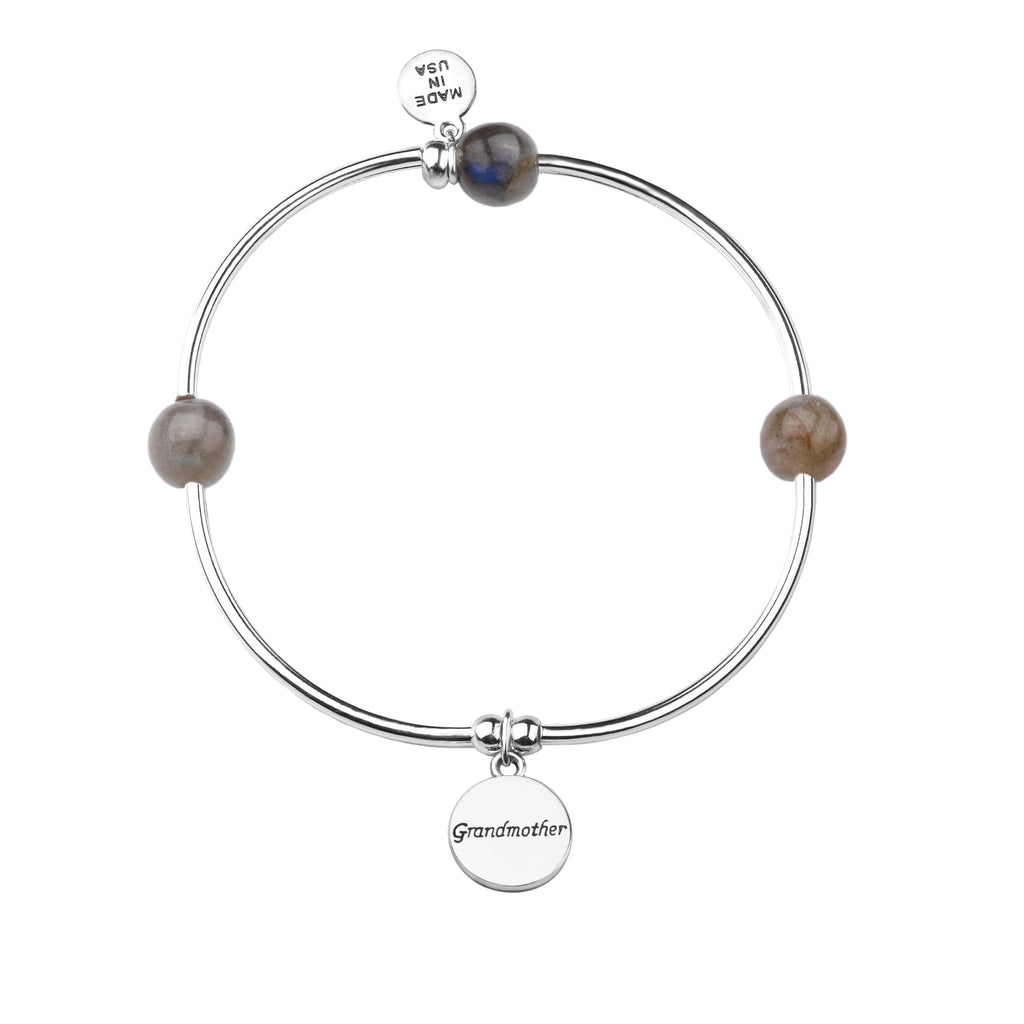 Grandmother | Soft Bangle Charm Bracelet | Labradorite