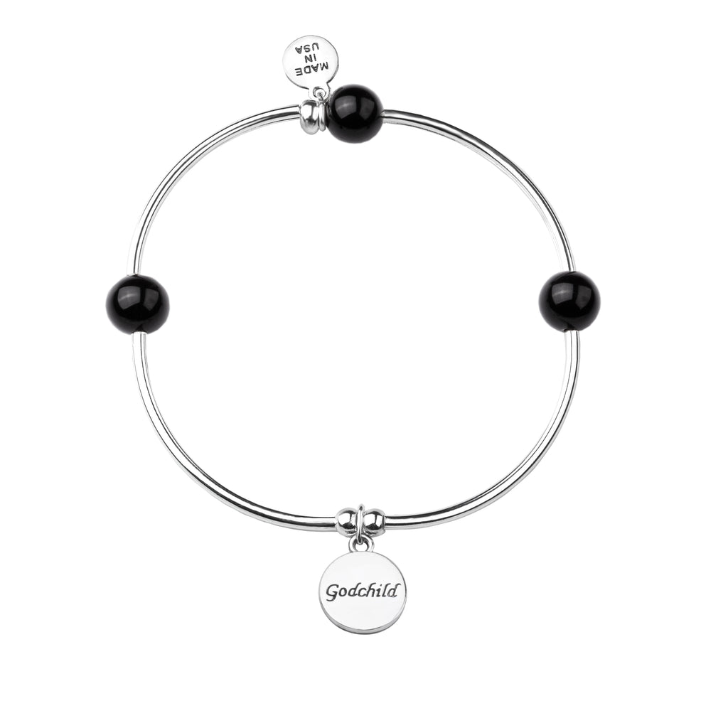 Godchild | Soft Bangle Charm Bracelet | Onyx