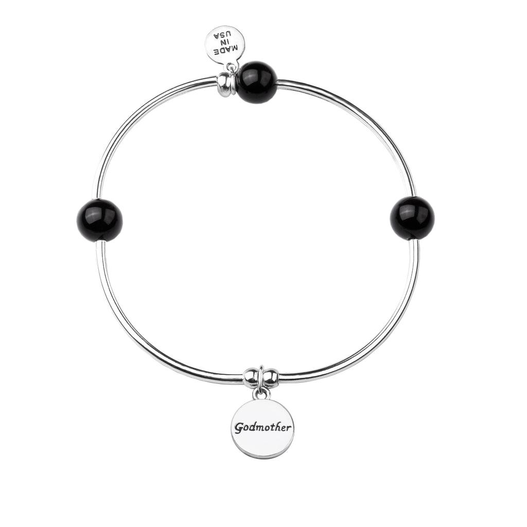 Godmother | Soft Bangle Charm Bracelet | Onyx