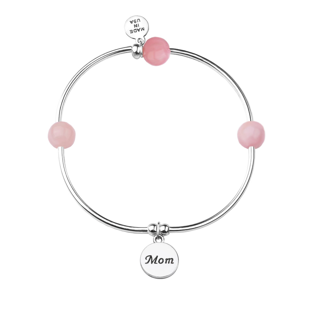 Mom | Soft Bangle Charm Bracelet | Rose Quartz