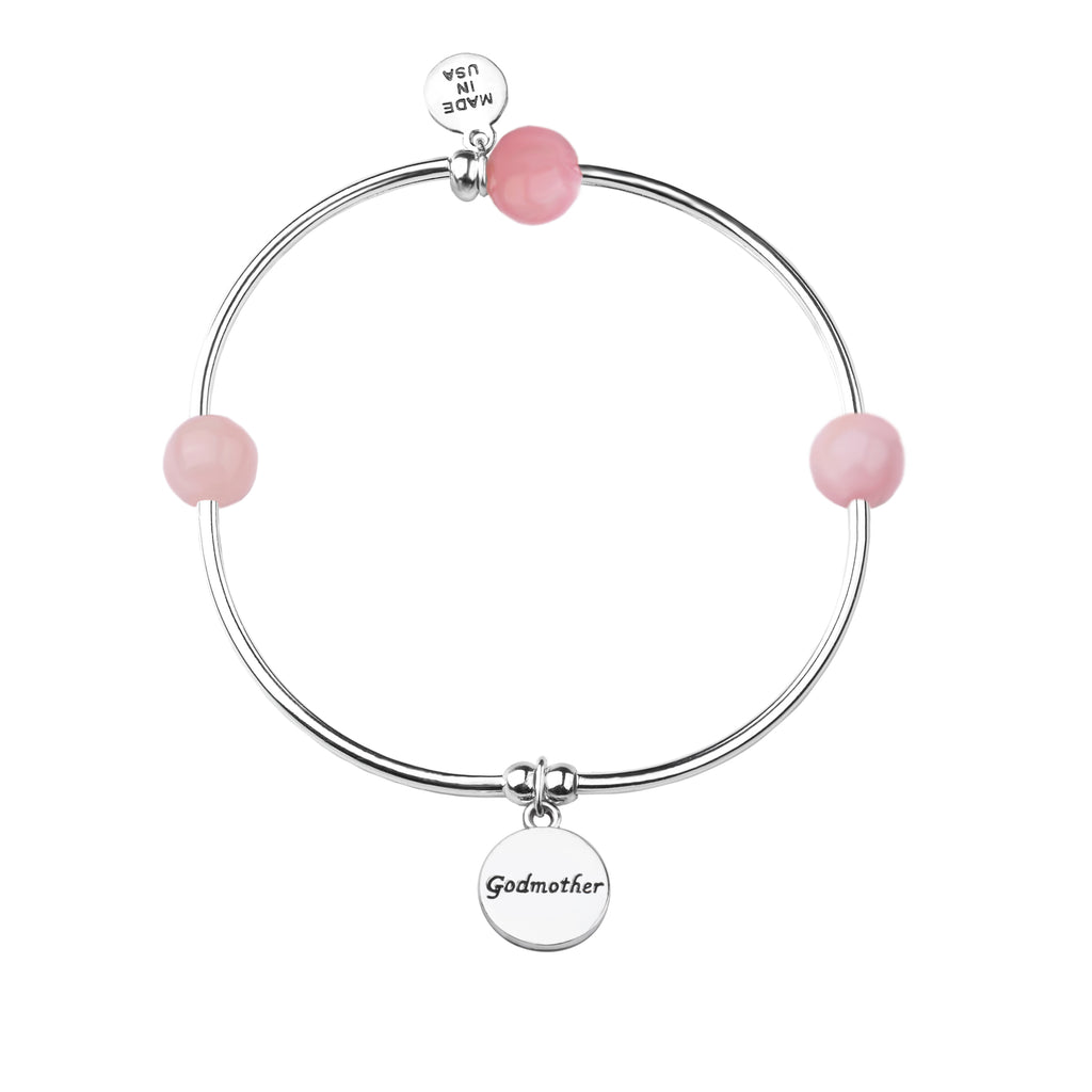 Godmother | Soft Bangle Charm Bracelet | Rose Quartz