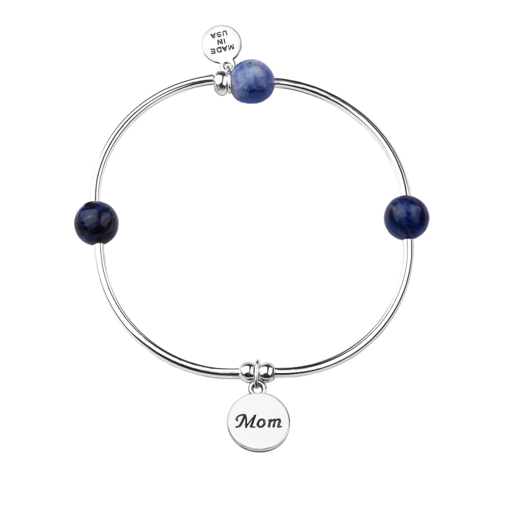 Soft Bangle Charm Bracelet | Mom | Sodalite