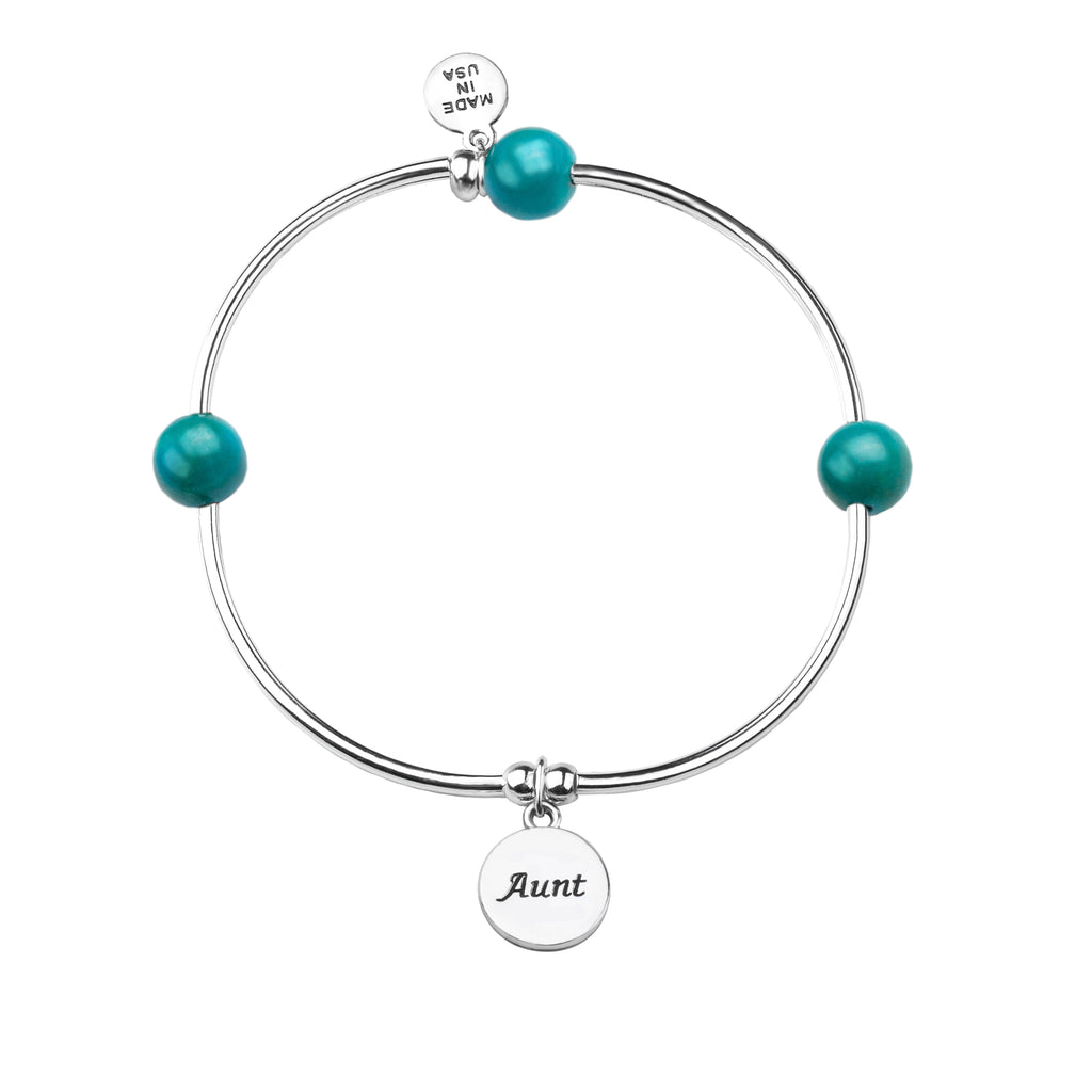 Aunt | Soft Bangle Charm Bracelet | Turquoise