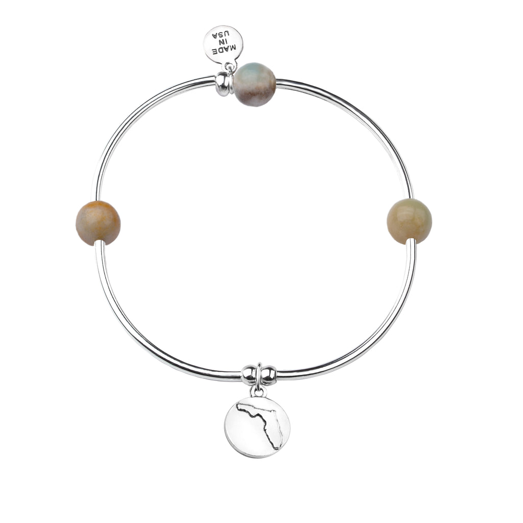 Florida | Bangle Charm Bracelet | Amazonite-Courage