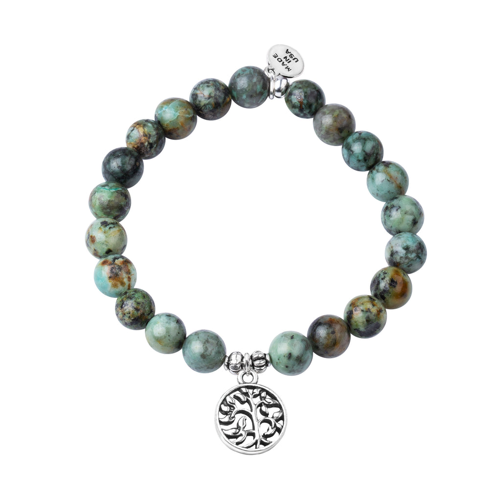 Tree of Life | Stone Beaded Charm Bracelet | African Turquoise