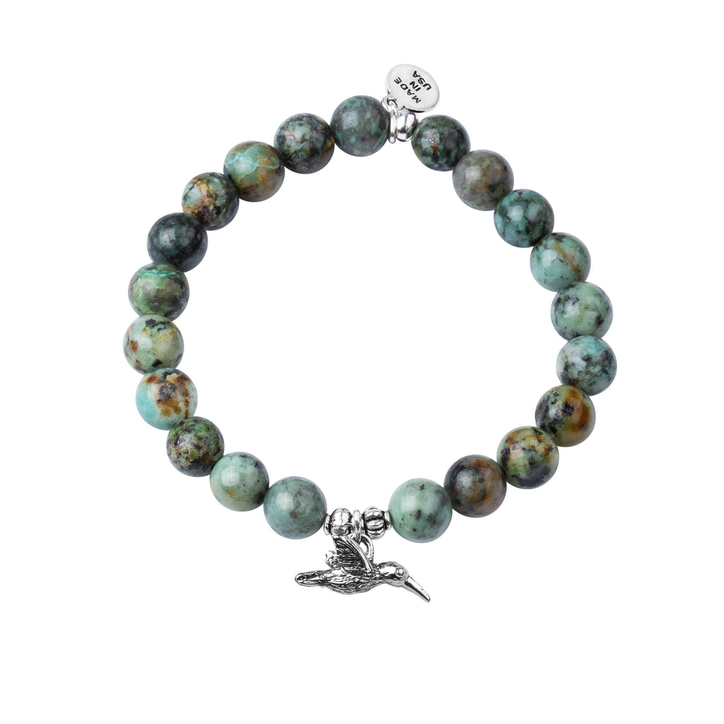 Hummingbird | Stone Beaded Charm Bracelet | African Turquoise