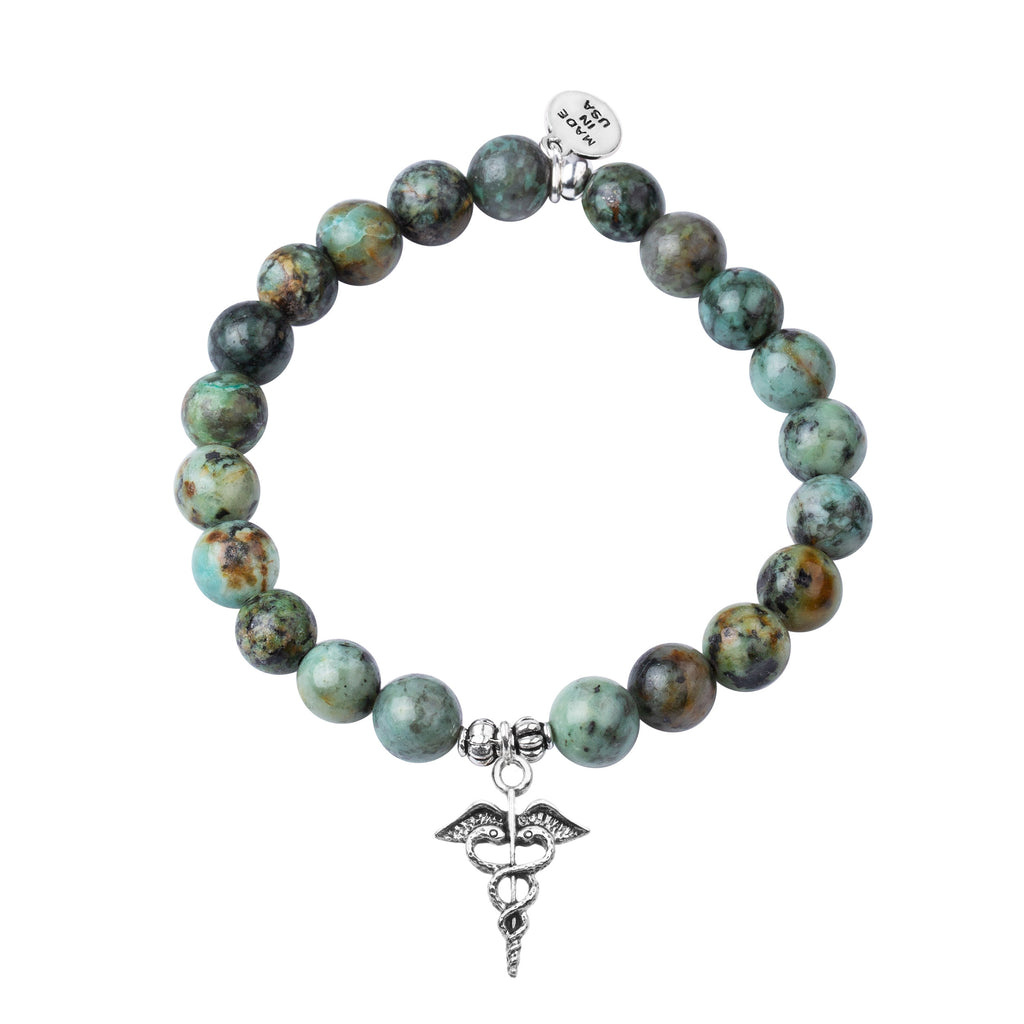 Caduceus (Medical Symbol) | Stone Beaded Charm Bracelet |  African Turquoise