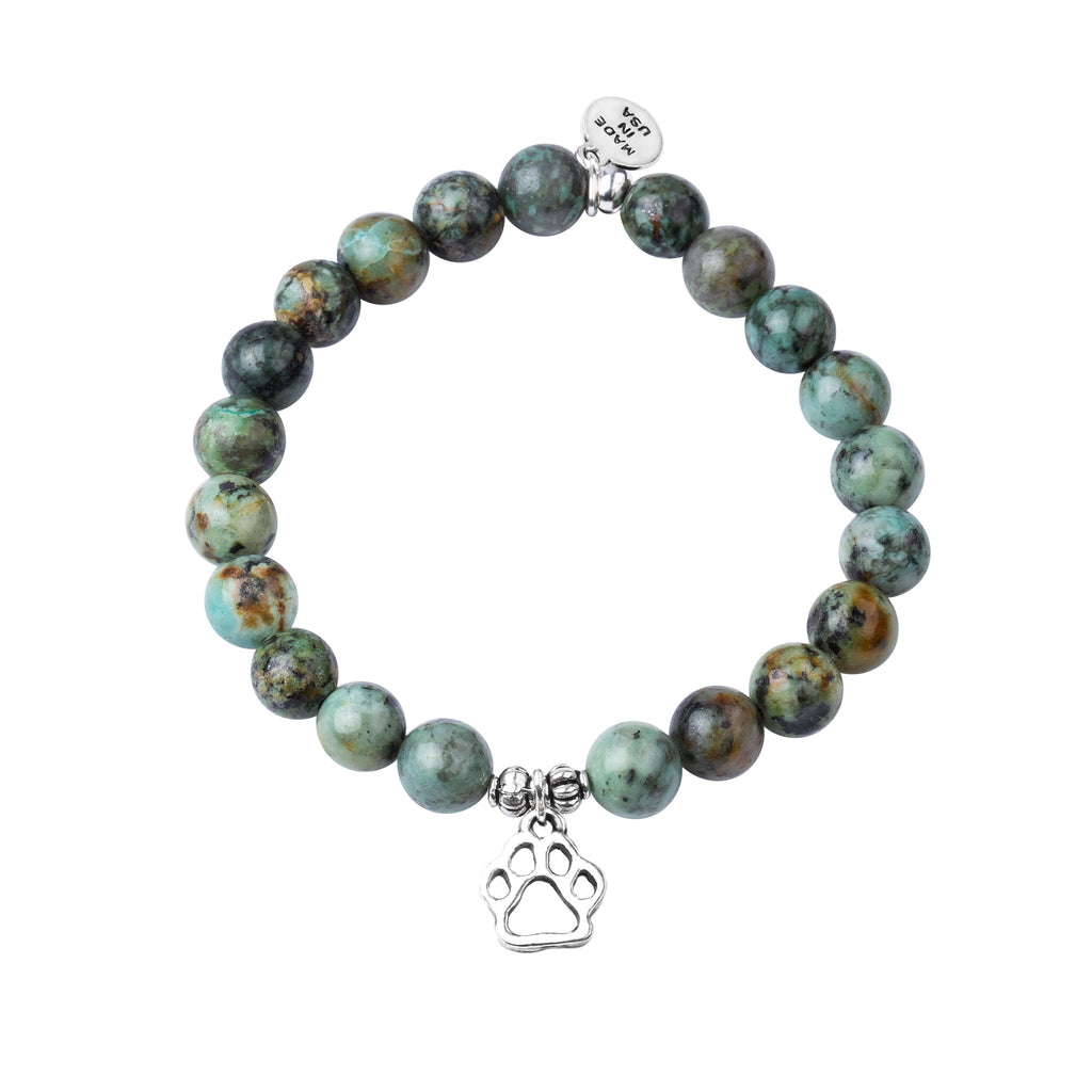 Paw Print | Stone Beaded Charm Bracelet |  African Turquoise