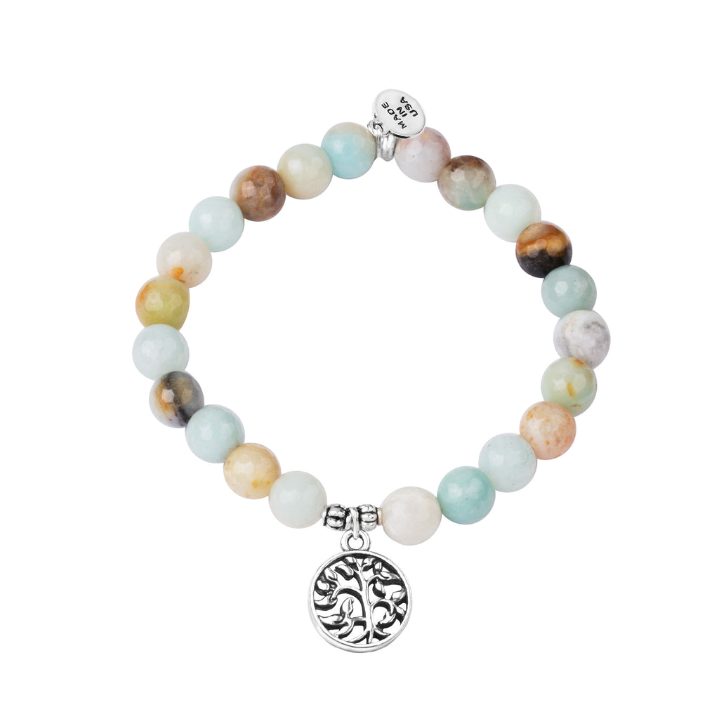 Tree of Life | Stone Beaded Charm Bracelet | Amazonite