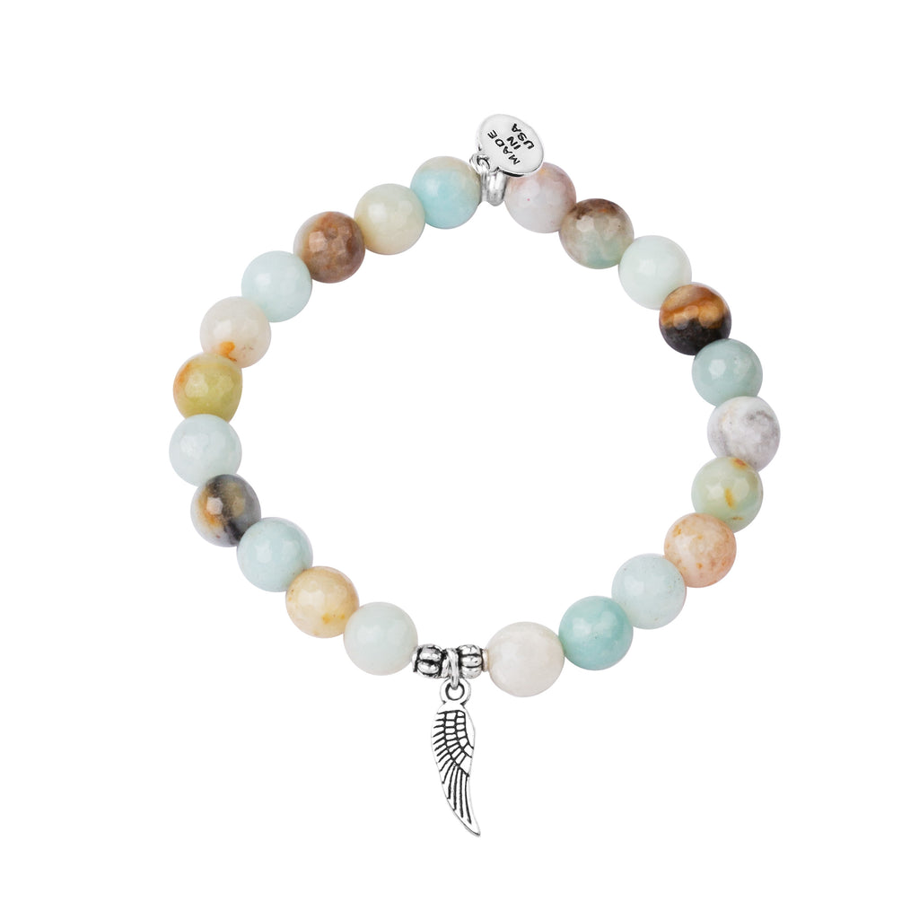 Angel Wing | Stone Beaded Charm Bracelet | Amazonite