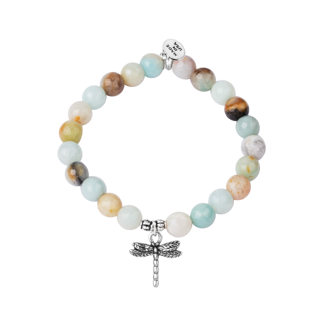 Dragonfly | Stone Beaded Charm Bracelet | Amazonite