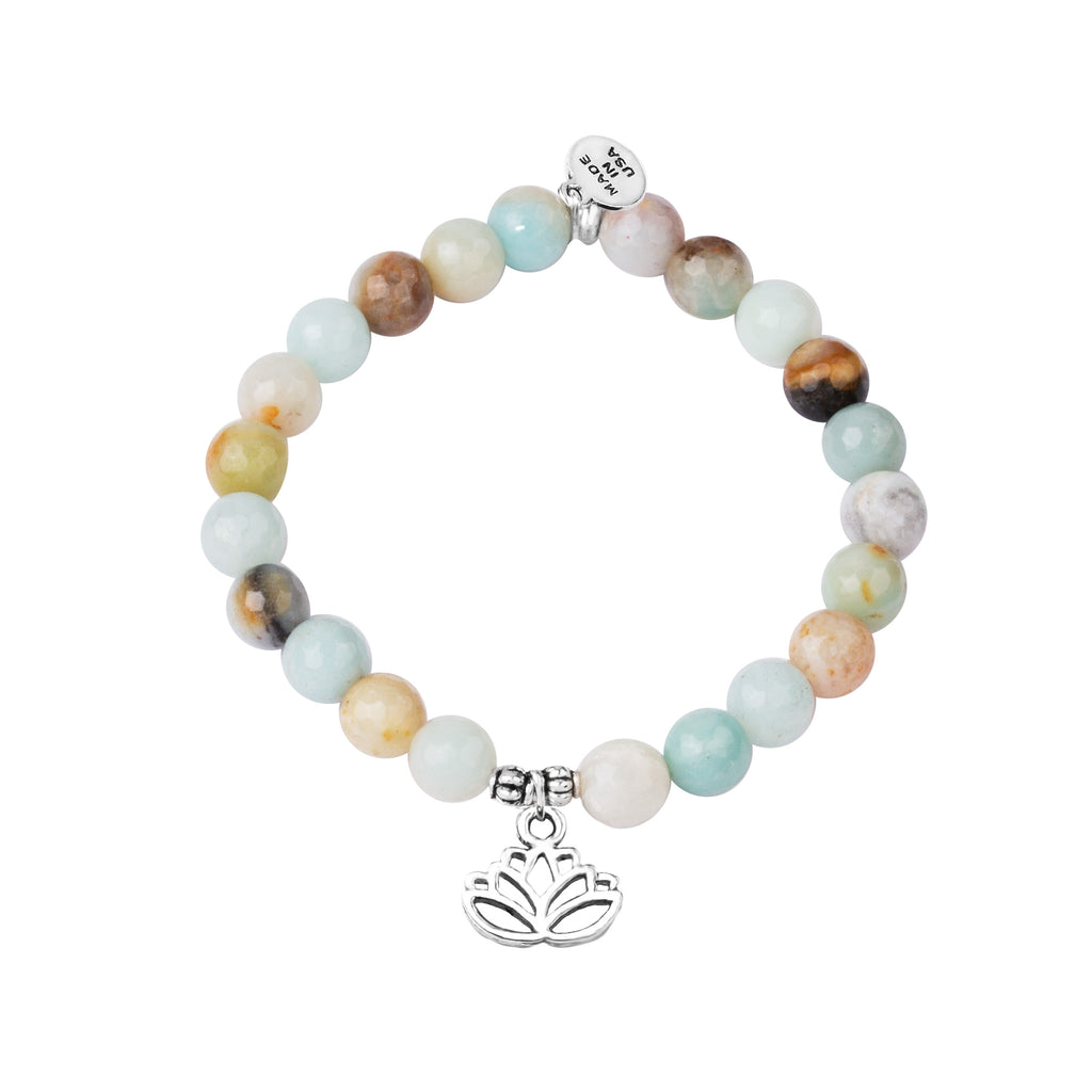 Lotus | Stone Beaded Charm Bracelet | Amazonite