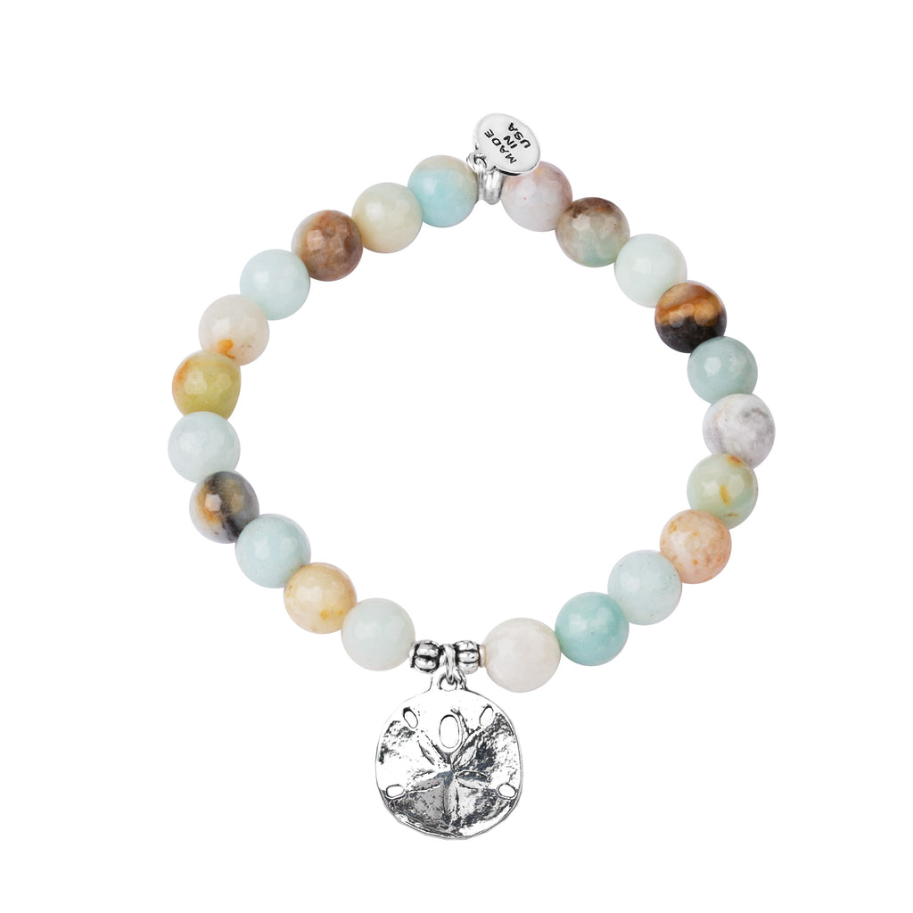 Sand Dollar | Stone Beaded Charm Bracelet | Amazonite