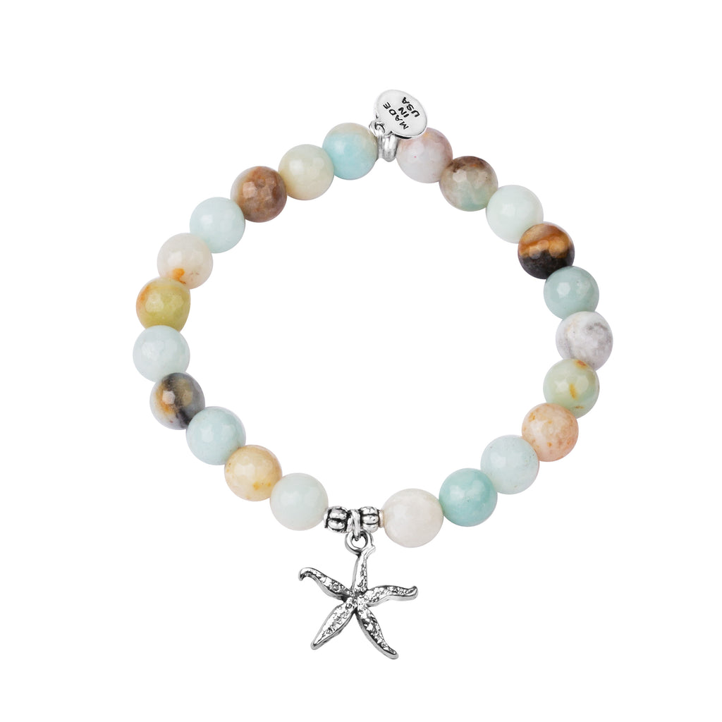 Starfish | Stone Beaded Charm Bracelet | Amazonite