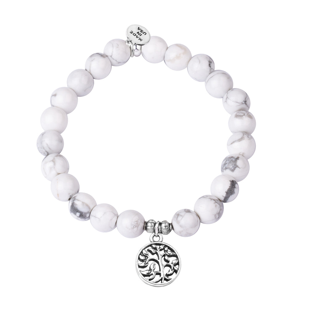 Tree of Life | Stone Beaded Charm Bracelet | Howlite