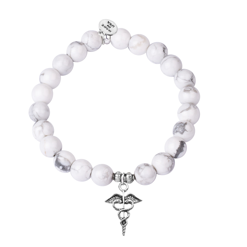 Caduceus (Medical Symbol) | Stone Beaded Charm Bracelet |  Howlite