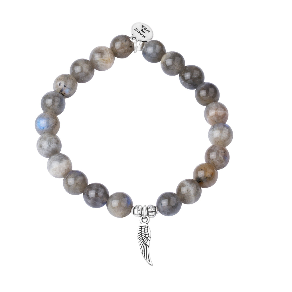 Angel Wing | Stone Beaded Charm Bracelet | Labradorite