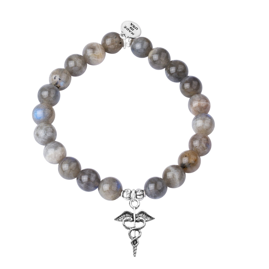 Caduceus (Medical Symbol) | Stone Beaded Charm Bracelet | Labradorite