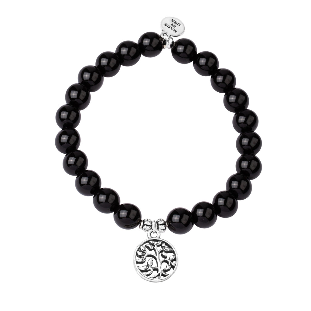 Tree of Life | Stone Beaded Charm Bracelet | Onyx