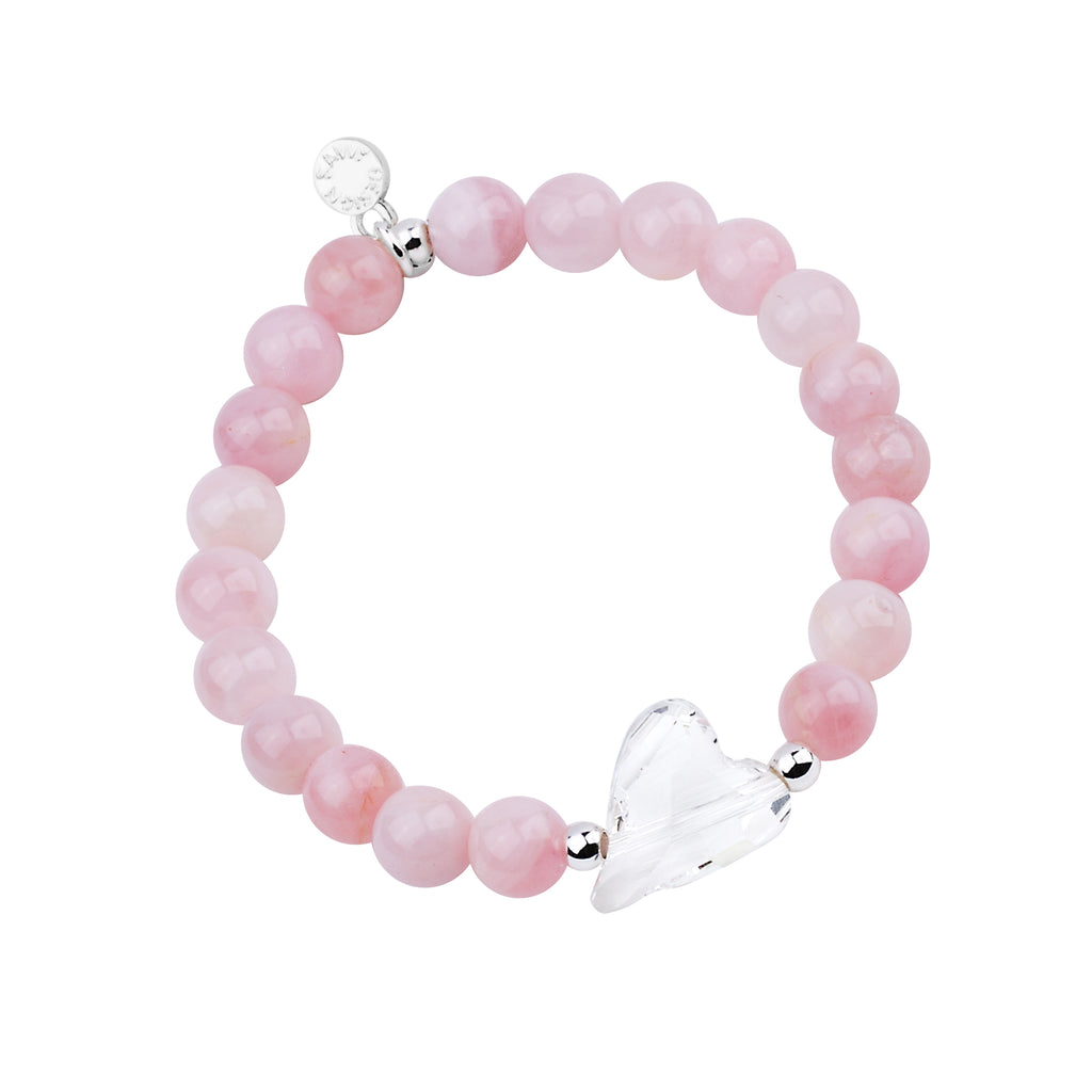 Heart - Amore | Stone Beaded Charm Bracelet | Rose Quartz - Love