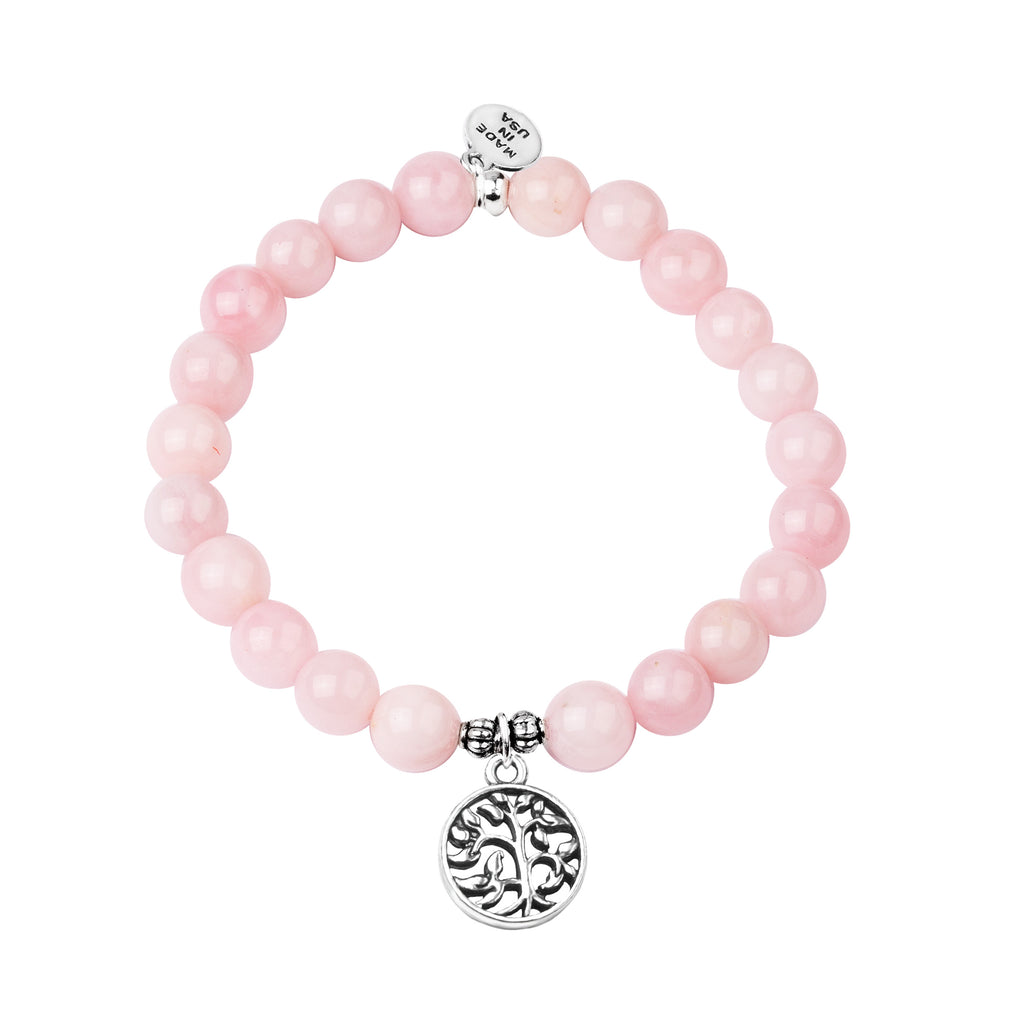 Tree of Life | Stone Beaded Charm Bracelet | Rose Quartz