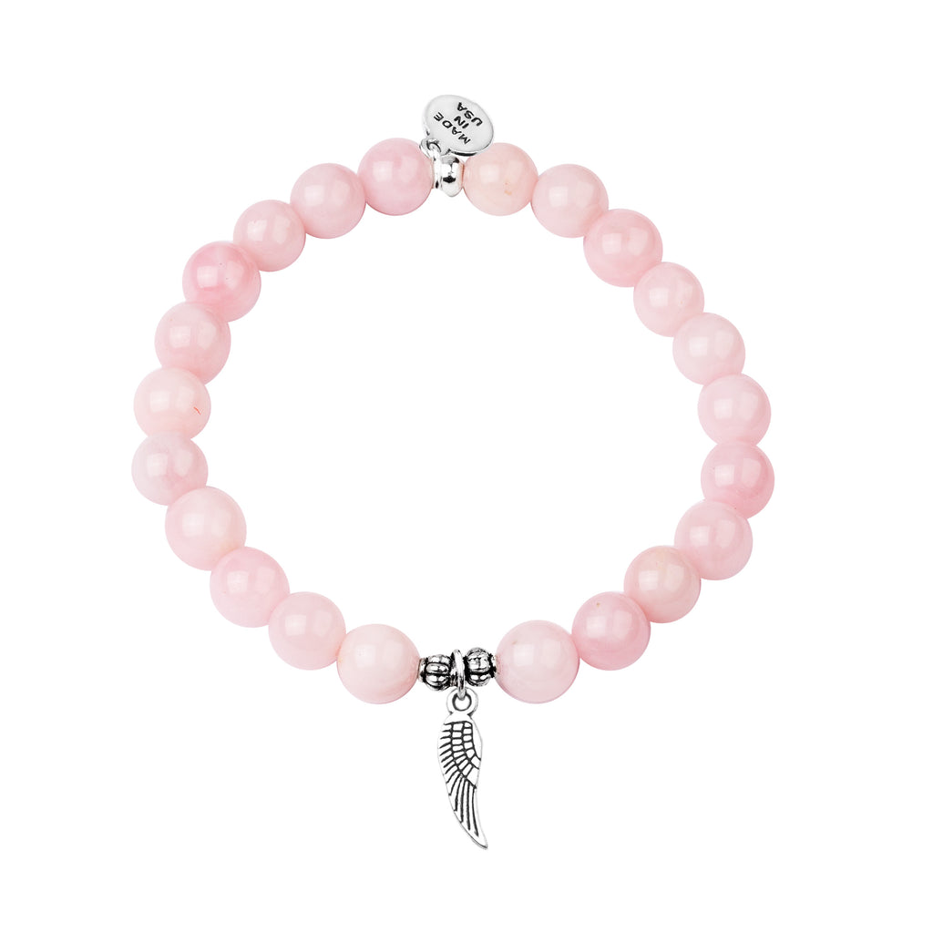Angel Wing | Stone Beaded Charm Bracelet | Rose Quartz