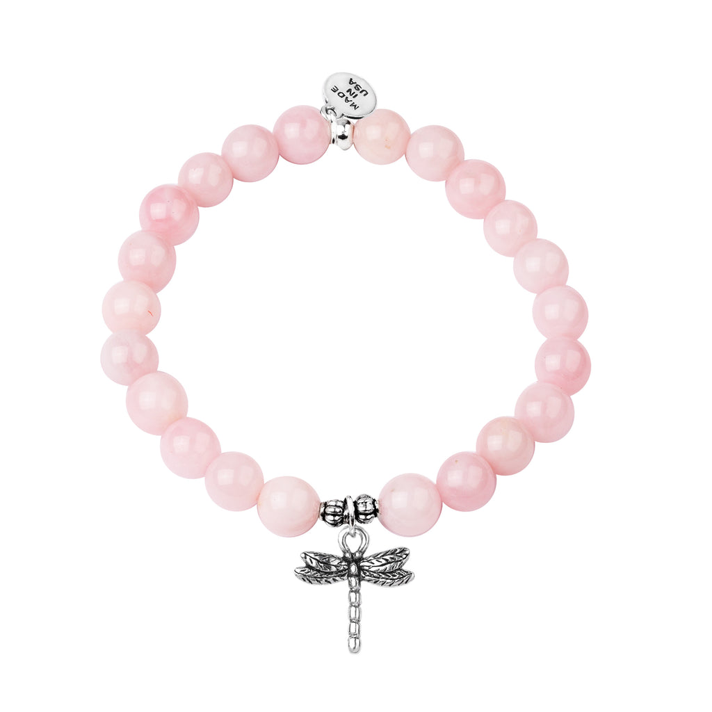 Dragonfly | Stone Beaded Charm Bracelet | Rose Quartz