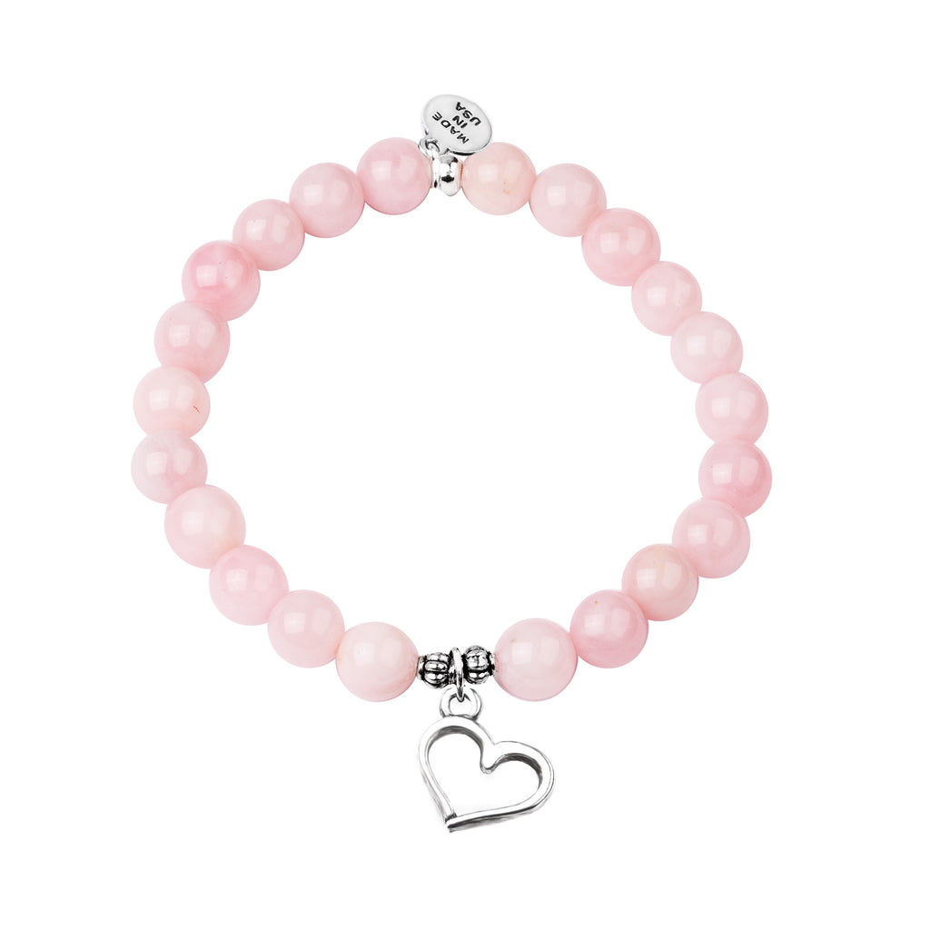 Heart | Stone Beaded Charm Bracelet | Rose Quartz