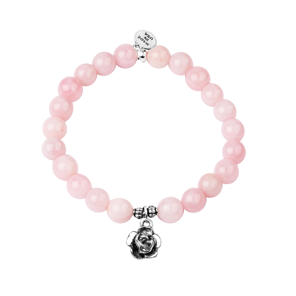 Rose | Stone Beaded Charm Bracelet | Rose Quartz