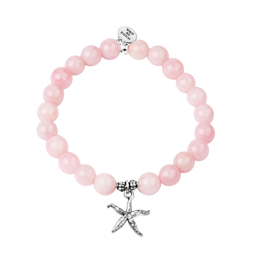 Starfish | Stone Beaded Charm Bracelet | Rose Quartz