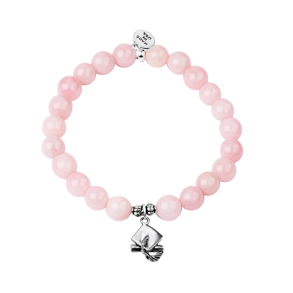Graduation Cap | Stone Beaded Charm Bracelet | Rose Quartz