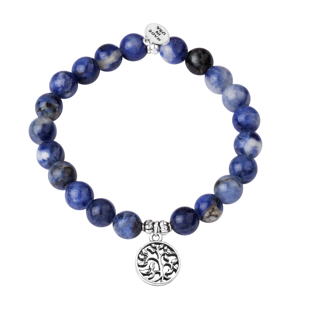 Tree of Life | Stone Beaded Charm Bracelet | Sodalite