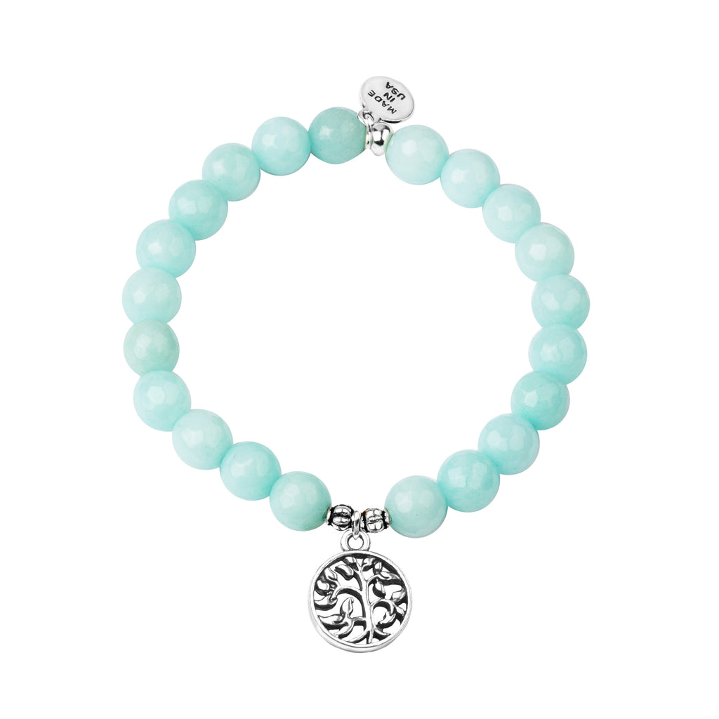 Tree of Life | Stone Beaded Charm Bracelet | Tiffany Blue Agate