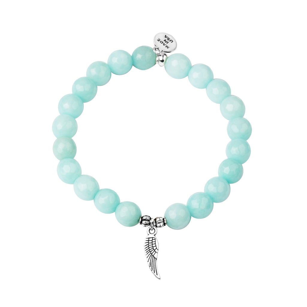 Angel Wing | Stone Beaded Charm Bracelet | Tiffany Blue Agate