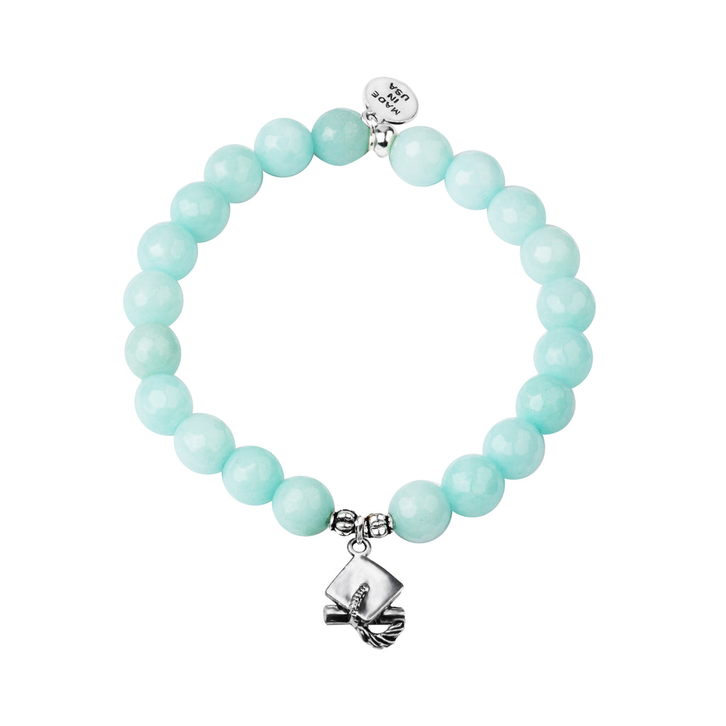 Graduation Cap | Stone Beaded Charm Bracelet | Tiffany Blue Agate