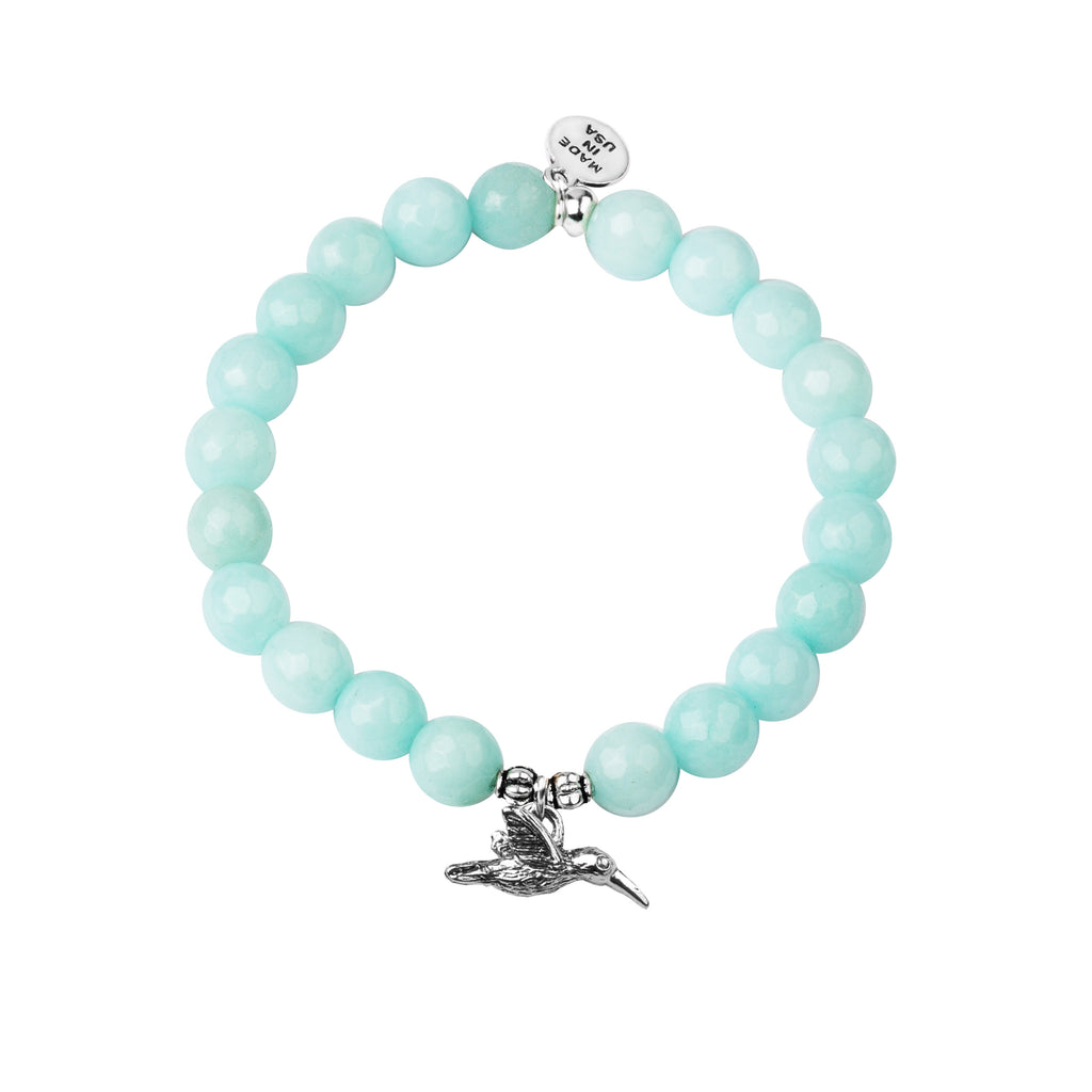 Hummingbird | Stone Beaded Charm Bracelet | Tiffany Blue Agate