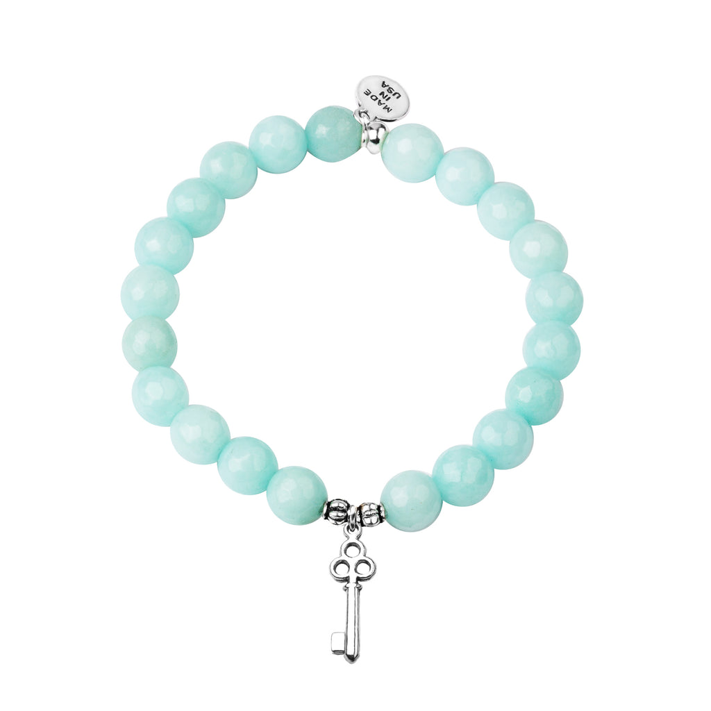 Key | Stone Beaded Charm Bracelet | Tiffany Blue Agate