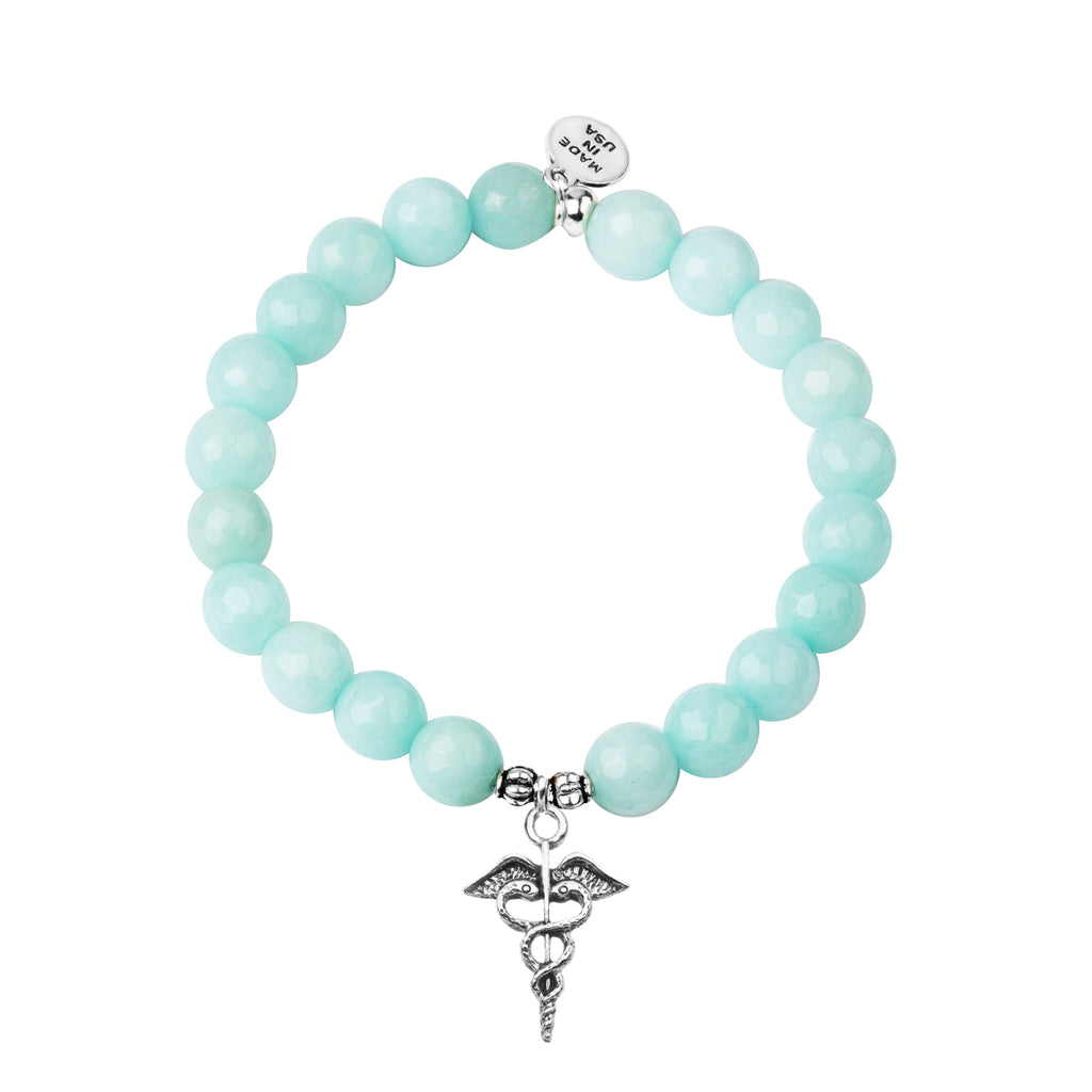 Caduceus (Medical Symbol) | Stone Beaded Charm Bracelet | Tiffany Blue Agate