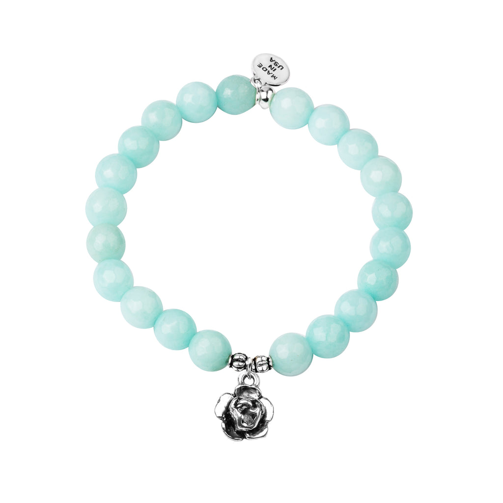 Rose | Stone Beaded Charm Bracelet | Tiffany Blue Agate