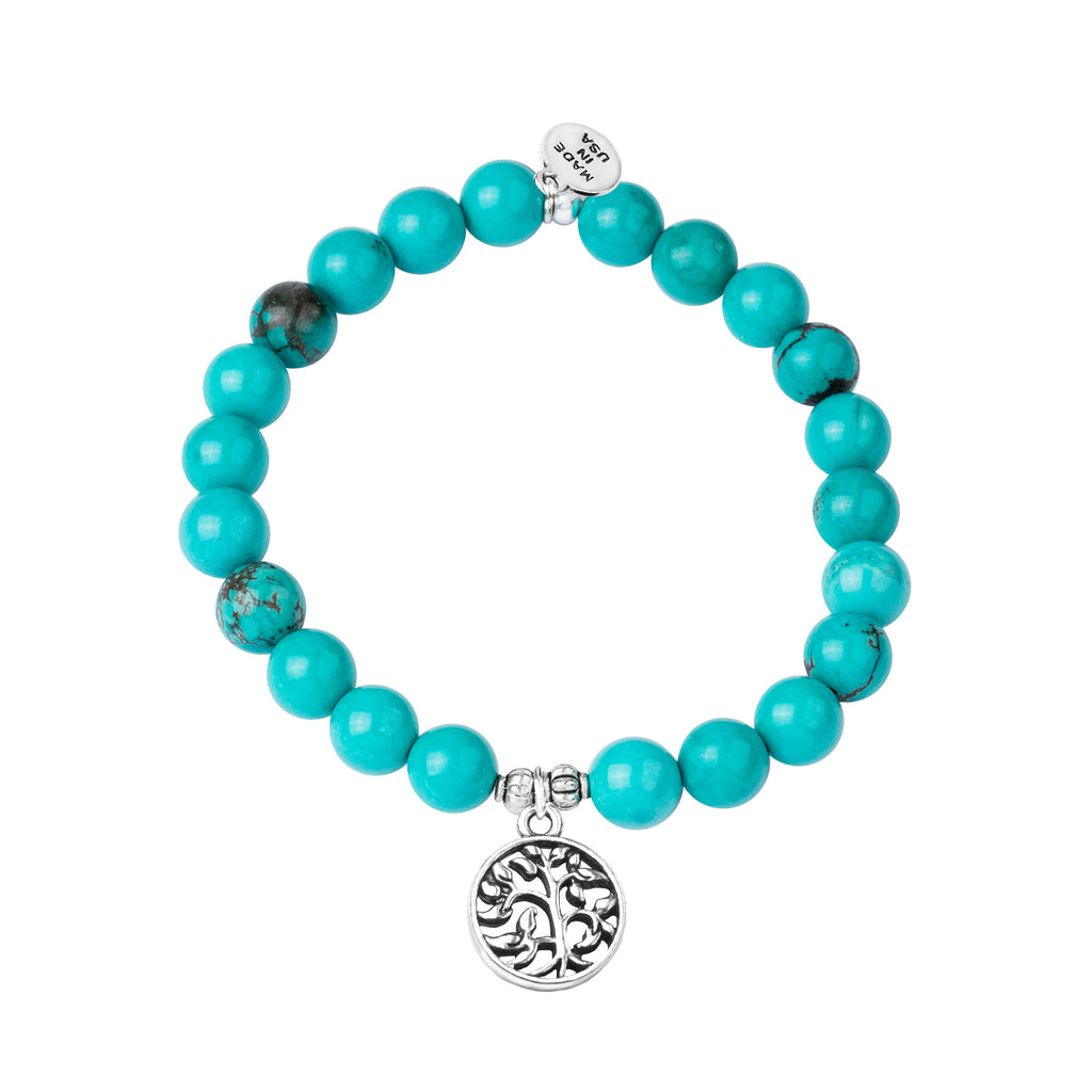 Tree of Life | Stone Beaded Charm Bracelet | Turquoise