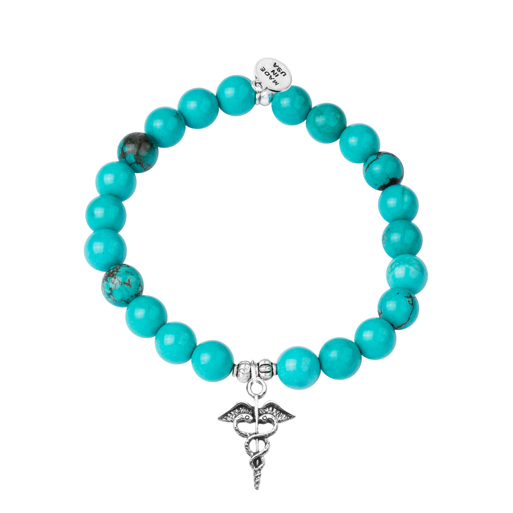 Caduceus (Medical Symbol) | Stone Beaded Charm Bracelet | Turquoise