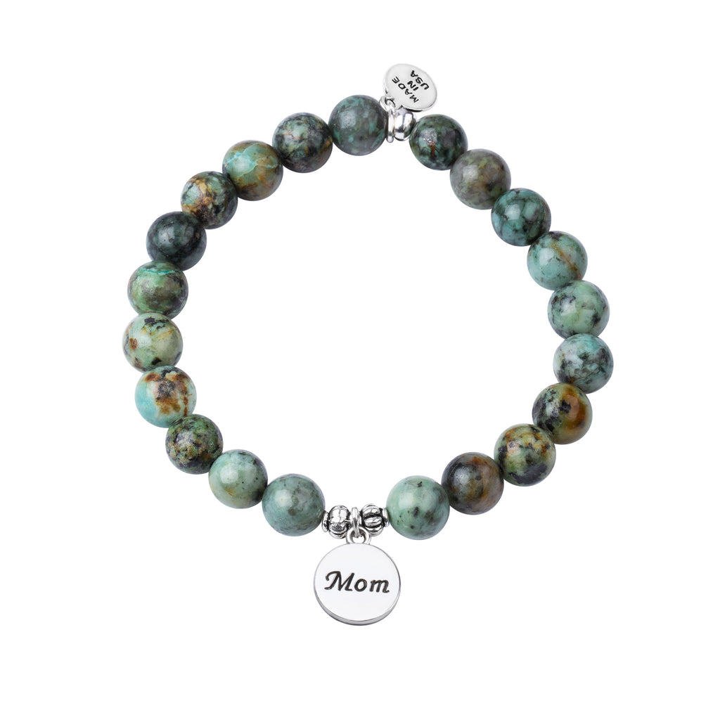 Mom | Stone Beaded Charm Bracelet | African Turquoise