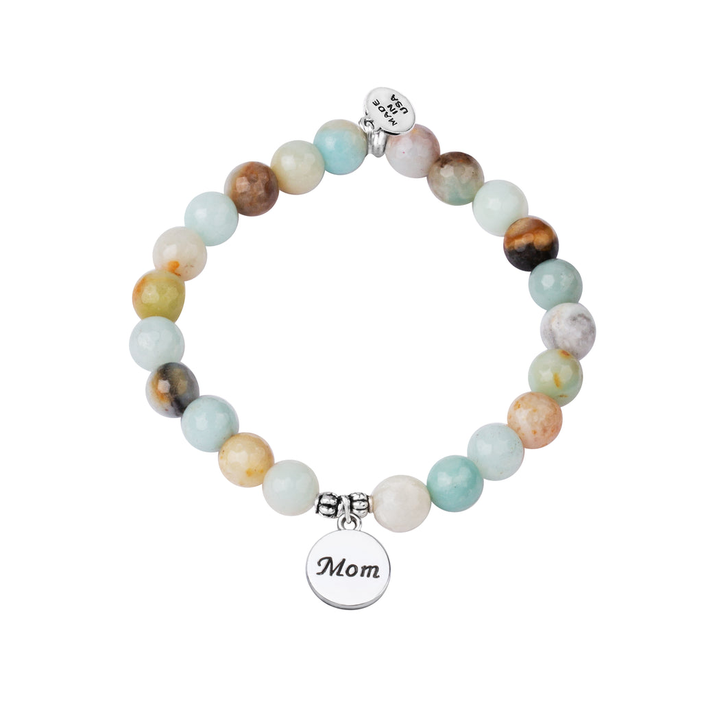 Stone Beaded Charm Bracelet | Mom | Amazonite