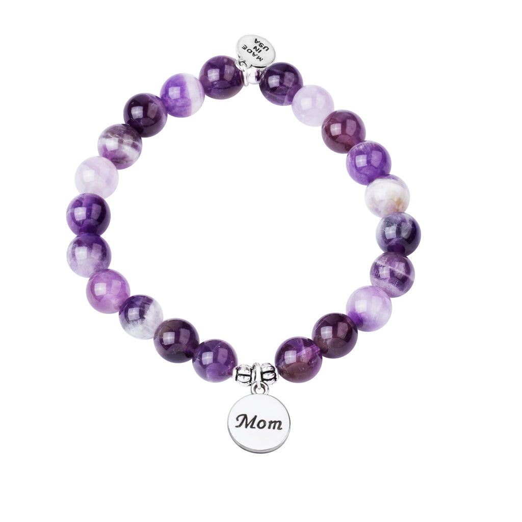 Mom | Stone Beaded Charm Bracelet | Amethyst